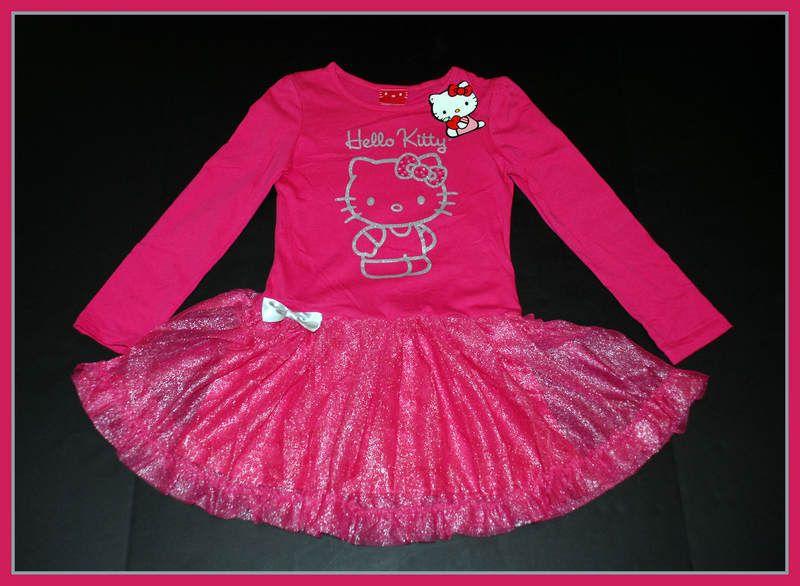 NWT Sanrio Hello Kitty Girls Pink~Silver Sparkle Tutu Ruffle Dress
