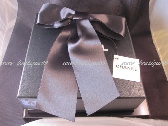 Auth CHANEL Black Satin Huge Bow Gold CC Logo Hair Barrettes Clips NEW