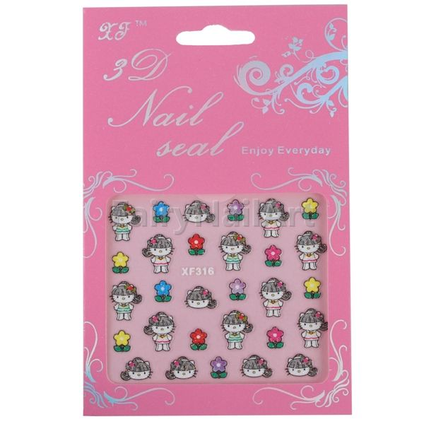 5pcs Lovely Kitty Cat Decal Stickers Nail Art Handcraft Sticker