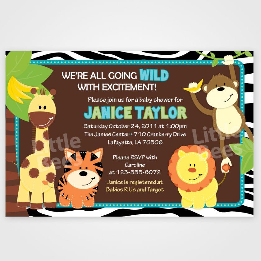 Wild Zebra Print Jungle Safari Friends Baby Shower or Birthday