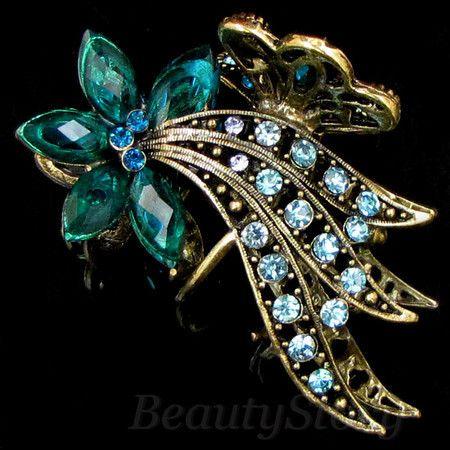 ADDL Item  1pc rhinestone crystal Antiqued flower hair