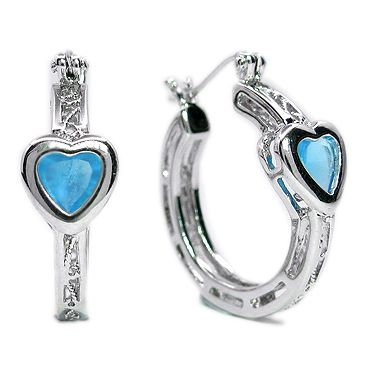FASHION LADY JEWELRY HEART CUT BLUE AQUAMARINE TOPAZ WHITE GOLD GP