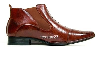 Aldo Brown Ankle High Dragon Design Toe Boots Styled Italy