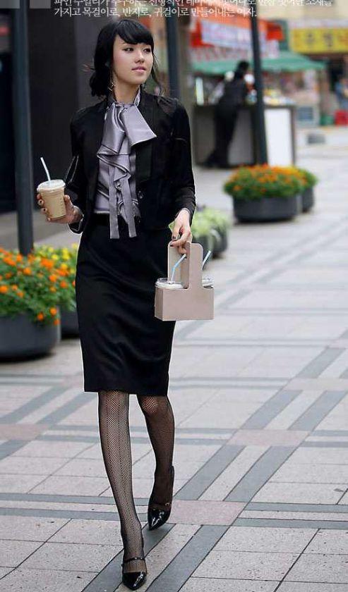 GREY Women Satin Lovely Ruffle Collar Shirt/Blouse/Top