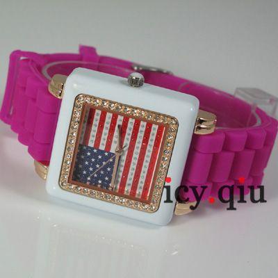 US Flag Style Watch ~ Fashion ladies Watches Purple E2