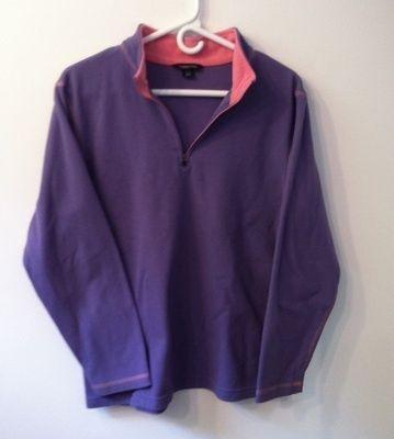 Lands End 1/4 zip Purple with Pink trim fleece womens XL (18 20