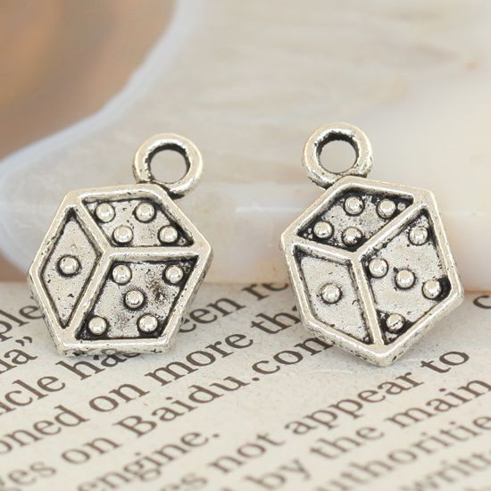 75X LOTS TIBETAN SILVER LUCKY DICE PENDANT CHARMS BEADS
