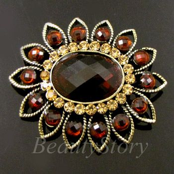 Item  1 pc antiqued rhinestone crystal flower brooch pin