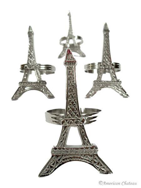 New Set 4 Silver Eiffel Tower Paris Napkin Holder Rings