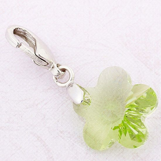 18K White Gold Plated Green Color Charms For Bracelet/Necklace