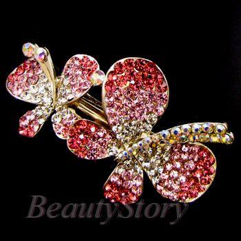 ADDL Item  rhinestone crystal butterfly hair barrette