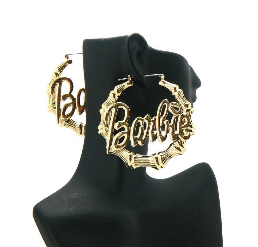 HOT Nicki Minaj Inspired Hollow Bamboo Hoop BARBIE Earring Pincatch