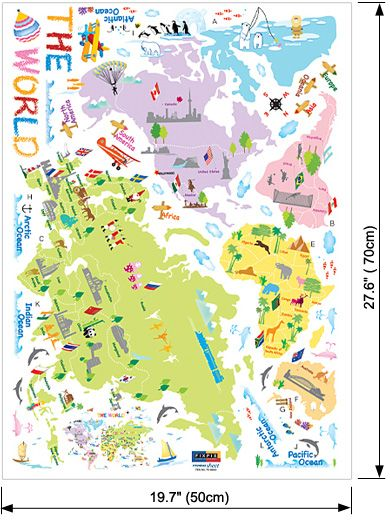 World Map Kids Room Vinyl Decals Wall Stickers Decor